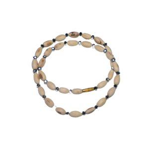 Mradang Beads Tulsi Kanthi with Stone / 100% Natural Tulsi Kanthi / Original Tulsi Kanthi – 2 Rounds